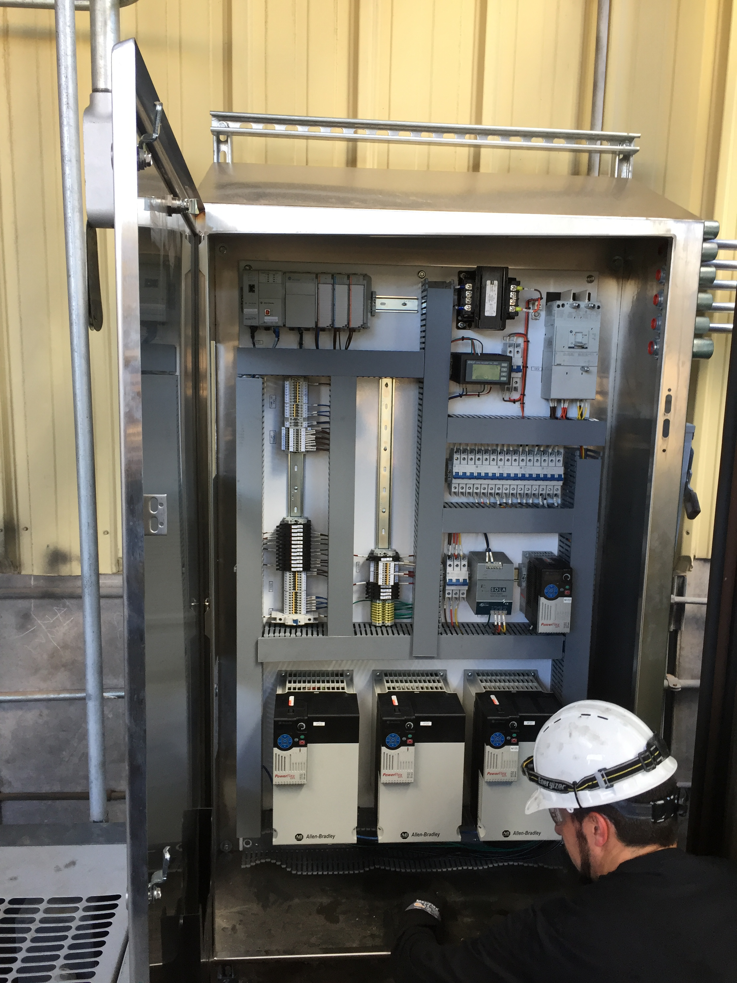 Installation of cooling tower instruments and controls. Control Panel ...